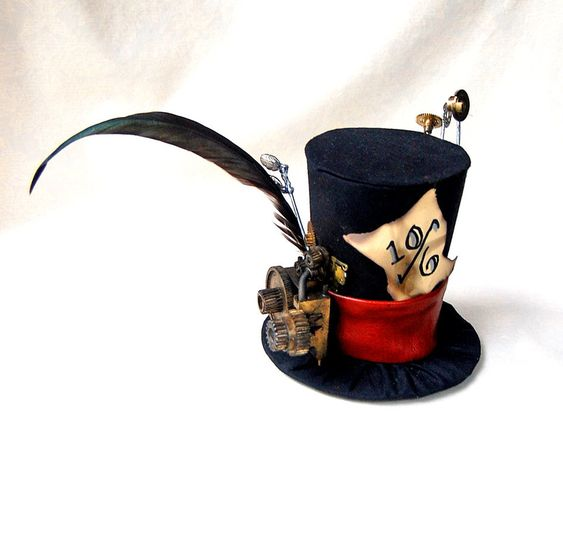 Tiny top hat steam punk mad hatter alice in wonderland steampunk