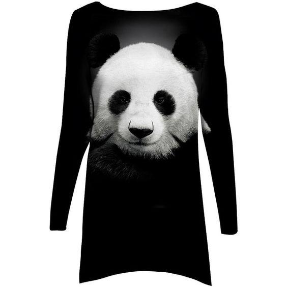 Mr. Gugu & Miss Go Black & White Panda Sublimation A-Line Dress ($27) ❤ liked on Polyvore