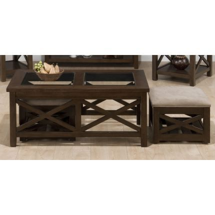 For Living Room Coffee Table With Stow Away Stools For Extra Seating