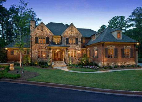 stone and brick impart a timeless look to this newly built