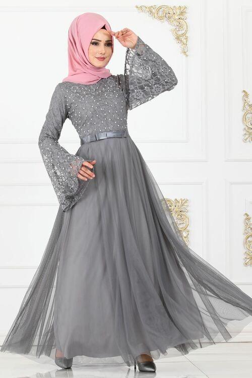 Modaselvim Abiye Fiyonk Detay Incili Abiye 81663bn105 Gri Elbiseler Elbise Elbise Dugun
