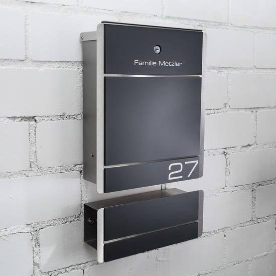 Moderner Edelstahl Briefkasten Mit Zeitungsfach Design Briefkasten Briefkasten Edelstahl Briefkasten Modern