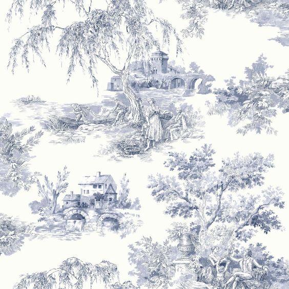 ideco tapisserie papier peint toile de jouy campagne provencale bleu cr me 922060. Black Bedroom Furniture Sets. Home Design Ideas