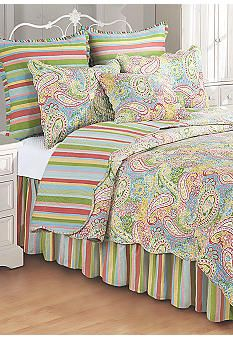Paisley Quilt...not the stripes, though. A solid color sheet and dust ruffle, I think...