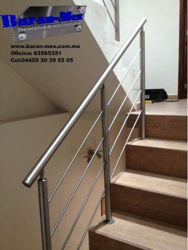 Barandales de acero inoxidable for the home pinterest for Modelos escaleras interiores