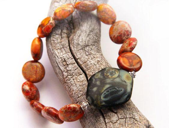 Energy Bracelet, Red Orange Sea Sediment Jasper Stone Bracelet, Green Artistic Glass, Sterling Silver Beads, Natural Stone Bracelet on Etsy, R$153,85