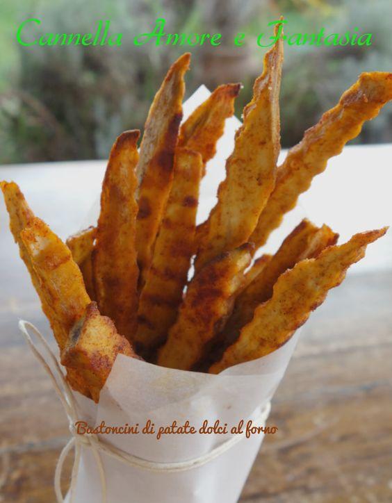 Bastoncini di patate dolci al forno
