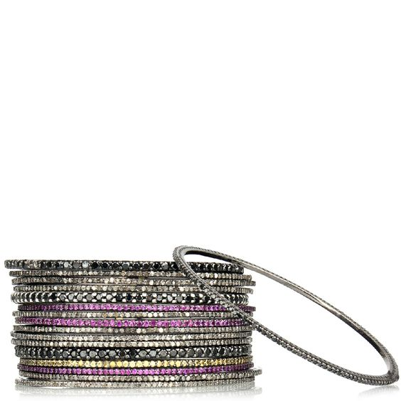 Hirshleifers - Stoned - One Thin Bangle with Stones Set in Sterling Silver (Black), $1,950.00 (http://www.hirshleifers.com/jewelry/fine-jewelry/bracelets/stoned-one-thin-bangle-with-stones-set-in-sterling-silver-black/)#Hirshleifers