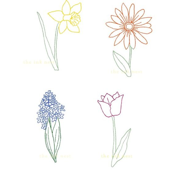 Line Drawing Spring Flowers : Clip art spring flowers for commercial and personal