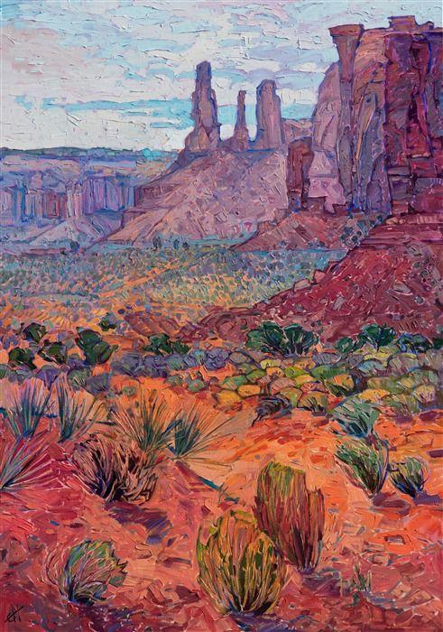 Monument Valley Southwest Landscape Oil Painting By Modern Impressionist Erin Hanson Fine Art Prints Artists Landscape Art Contemporary Impressionism