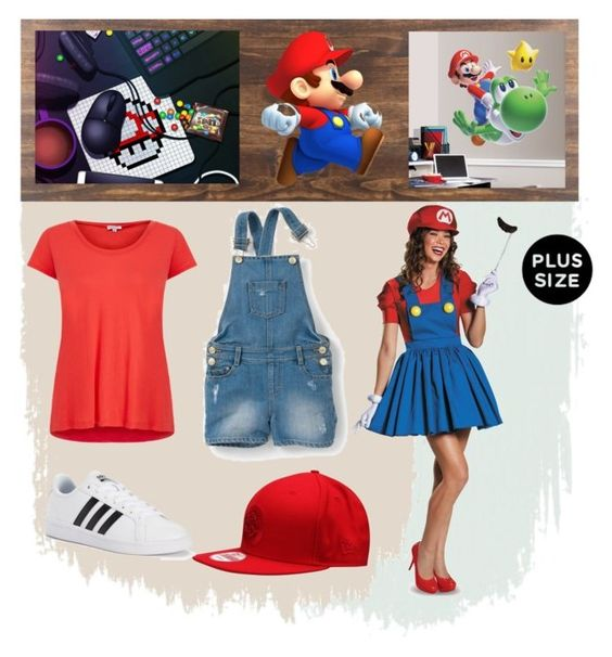 fantasia super mario by gabrielle-bianchi on Polyvore featuring moda, Splendid, adidas and York Wallcoverings: