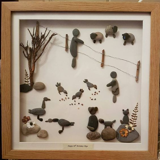 "30 Likes, 1 Comments - Ruth Rocks (@ruth_rocks2016) on Instagram: ""A lovely country scene 🐑🐐🐕 #pebbleartpiece #pebbleart #pebbleartpicture #farminglife #farming…"""