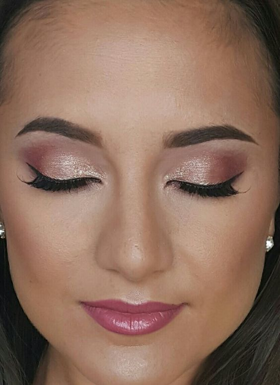 Rose gold eyeshadow glowing sexy bridal makeup created by artist Corine Potter…