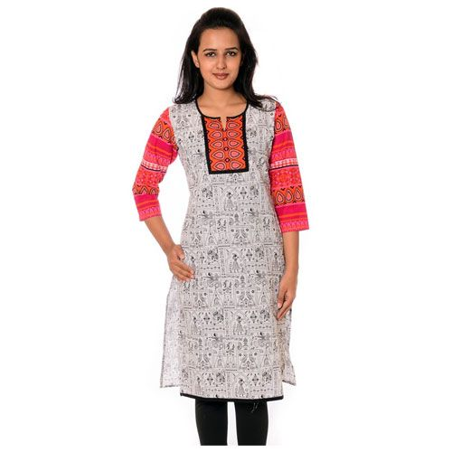 Price Rs.549 | Shop for this white cotton printed designer kurti ...