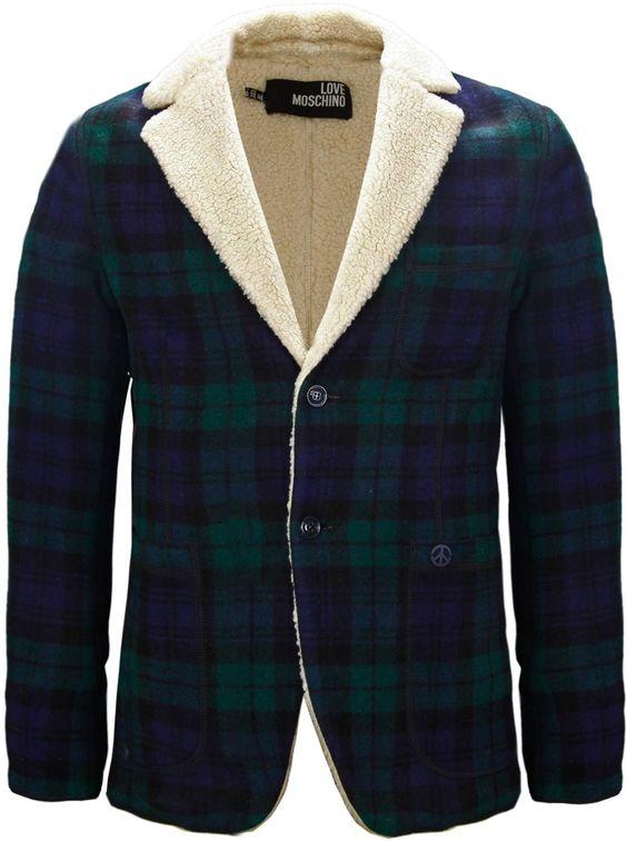 Moschino Mens Tartan Wool Fleece Jacket Navy Blue &amp Green: Amazon