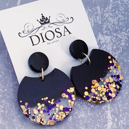 Handmade polymer clay earrings resin polka dot earrings