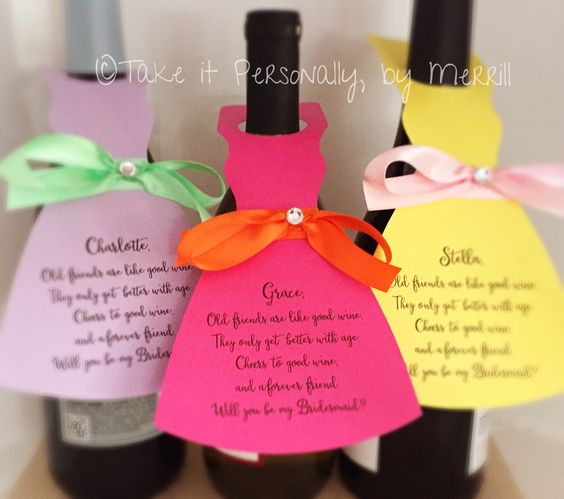Will you be my bridesmaid wine bottle hang tag wine bottle tag wedding cards personalized and printed by TakeitPersonallybyM on Etsy https://www.etsy.com/listing/156901759/will-you-be-my-bridesmaid-wine-bottle