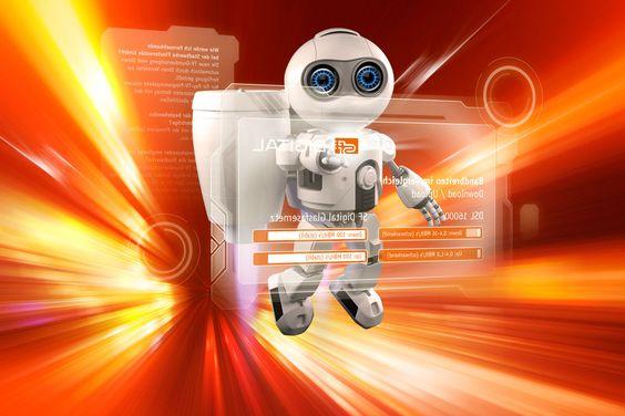 Roboter wirbt für Glasfasernetz