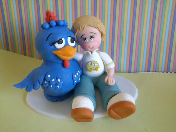 Topo de bolo Galinha Pintadinha em biscuit