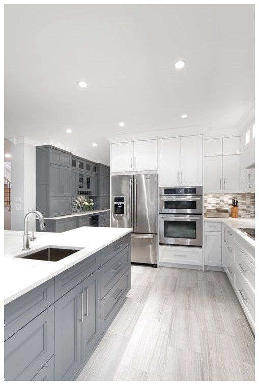Modern White Gray Kitchen Bright Modern Gray White Kitchen Gray Cabinets White Cabinets Grey Kitchen Floor Grey Kitchen Designs Gray And White Kitchen