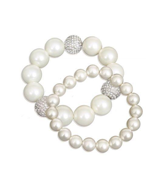 Faux pearl bracelet 3 rhinestones and stretch 1 row by Kenneth Jay Lane.