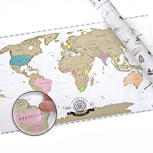 Scrape Off World Map Weltkarte Zum Rubbeln Rubbel Landkarte