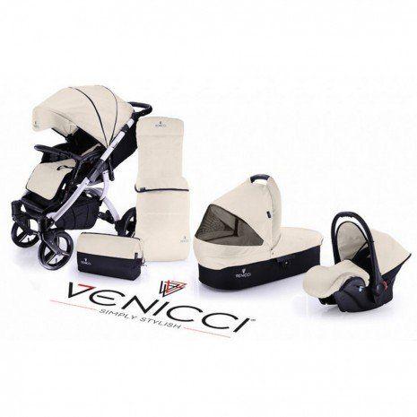 Venicci Travel System (Open Basket) - White Chassis / Cream