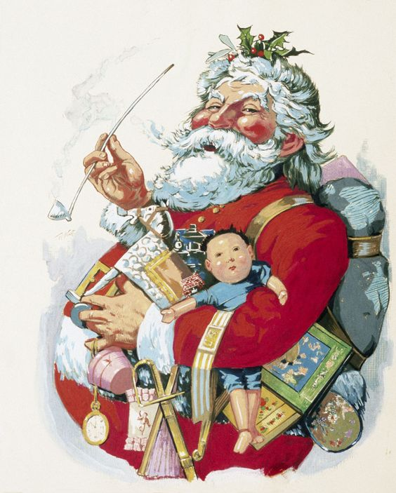 The first modern American Santa Claus illiustrated by Thomas Nast.
