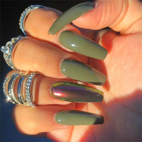 45 Best Fall Nail Polish Colors Cute Trending Ideas For 2020 In 2020 Green Nails Fall Acrylic Nails Nail Polish Colors Fall