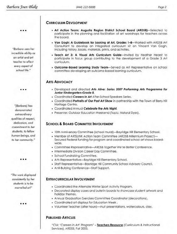 Visual-Arts-Teacher-Resume-1.Gif 838×1,106 Pixels | Teaching