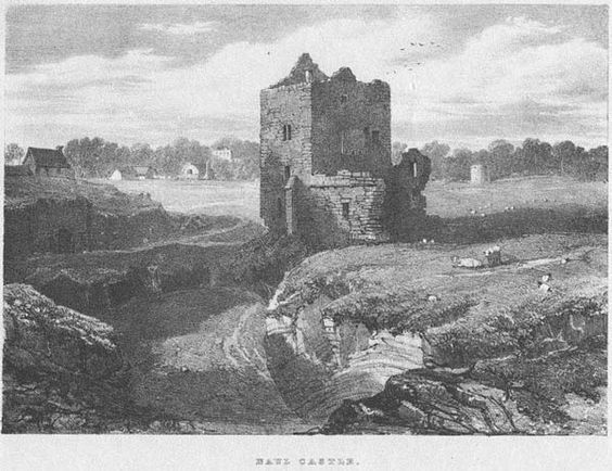 Naul Castle by Robert O'Callaghan Newenham. Lithographed by J.D. Harding and first published in 1826.  Image courtesy of www.thekennygallery.ie