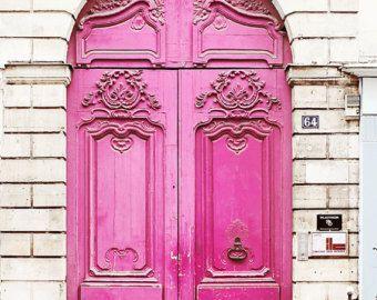 Paris Poster Print 20x30 Pink Door White Large Wall