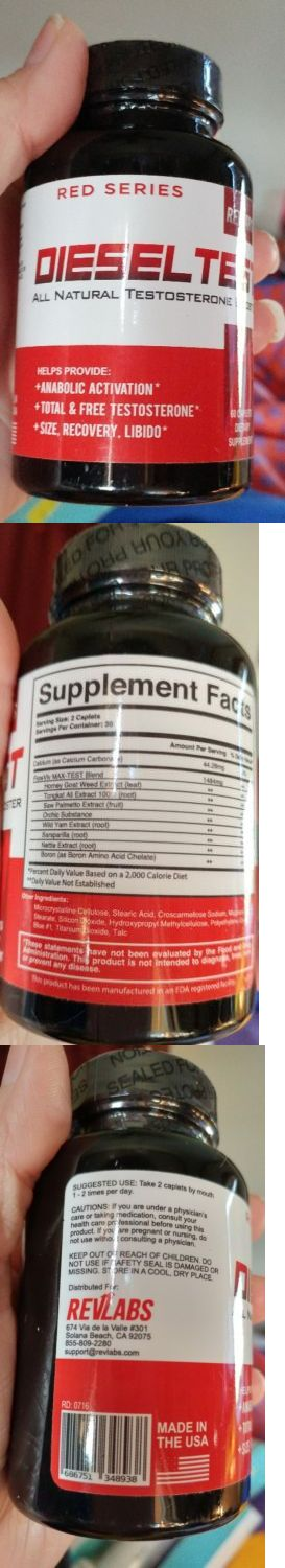 Sports Vitamins and Minerals: Diesel Test Red Series Testosterone Booster (All Natural) Rev Labs - 60 Caplet BUY IT NOW ONLY: $45.5