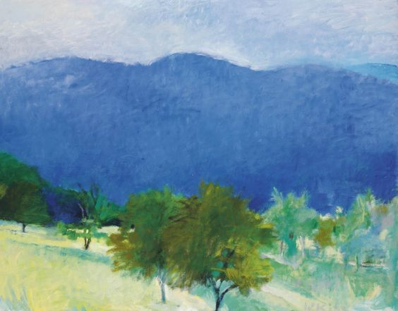 """Wolf Kahn (USA b. 1927) Blue Hills and Cherry Trees II (1981) oil on canvas 132.7 x 167.6 cm """