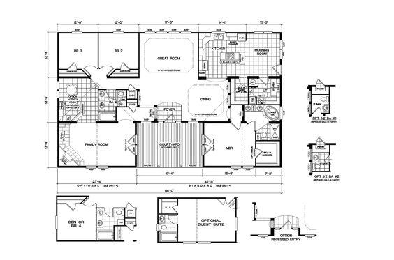 Quadruple wide mobile home floor plans 5 bedroom 3 for 6 bedroom double wide