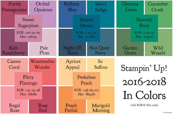 Inkantations and Inkarnations: Stampin' Up! 2016-2018 In Colors with RGB & Hex codes: