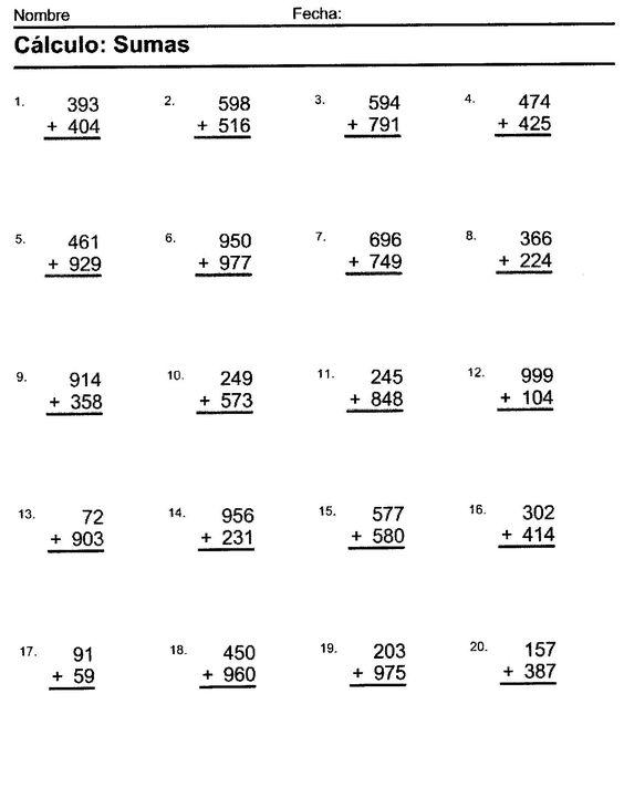 Ejercicios De Matematicas Sumas Y Restas Para Tercer Grado Math Subtraction Singapore Math School Worksheets