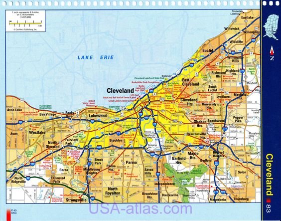 Cleveland Map Detailed Road Of Ohio Very Clear
