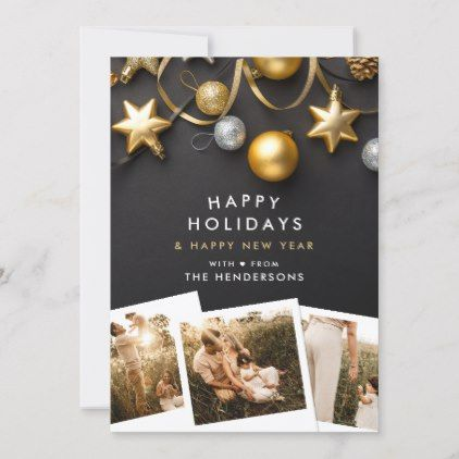 Modern Black Amp Gold Christmas Ornaments 4 Photo Holiday Card New Year S Eve Happy New Yea Modern Christmas Cards Black Gold Christmas Holiday Photo Cards