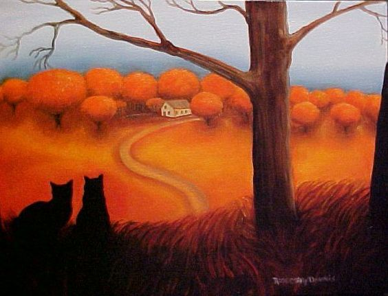 Rosemary Margaret Daunis - ALMOST HOME ll - Black Kitty Cats Fall Autumn - Oil on Stretched Canvas: