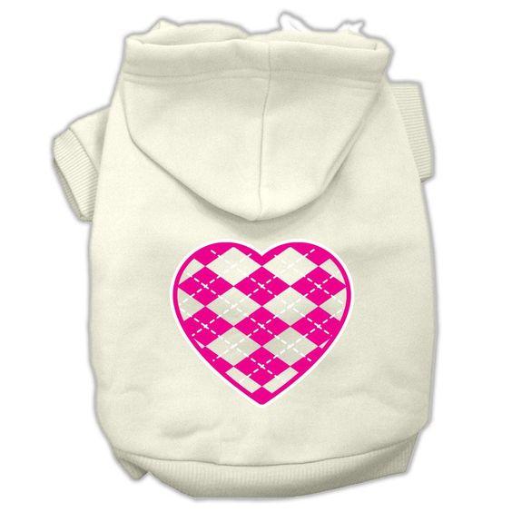 Argyle Heart Pink Screen Print Pet Hoodies Cream Size XXL (18)