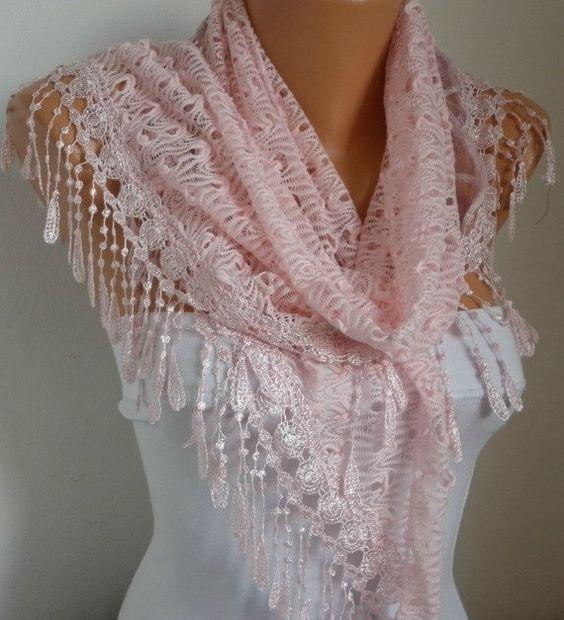 Pink Lace Scarf, Shawl Cowl Bridesmaid Gift Bridal ...
