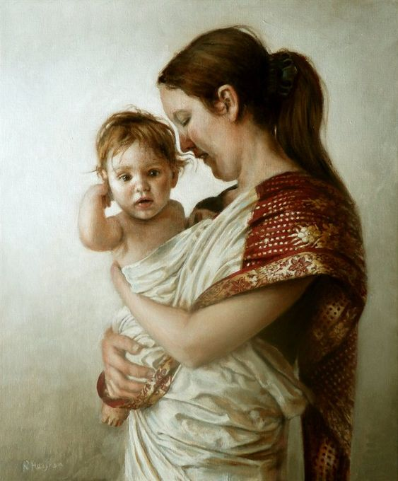 Ralf Heynen painting : Women mother and baby | Mother and ...