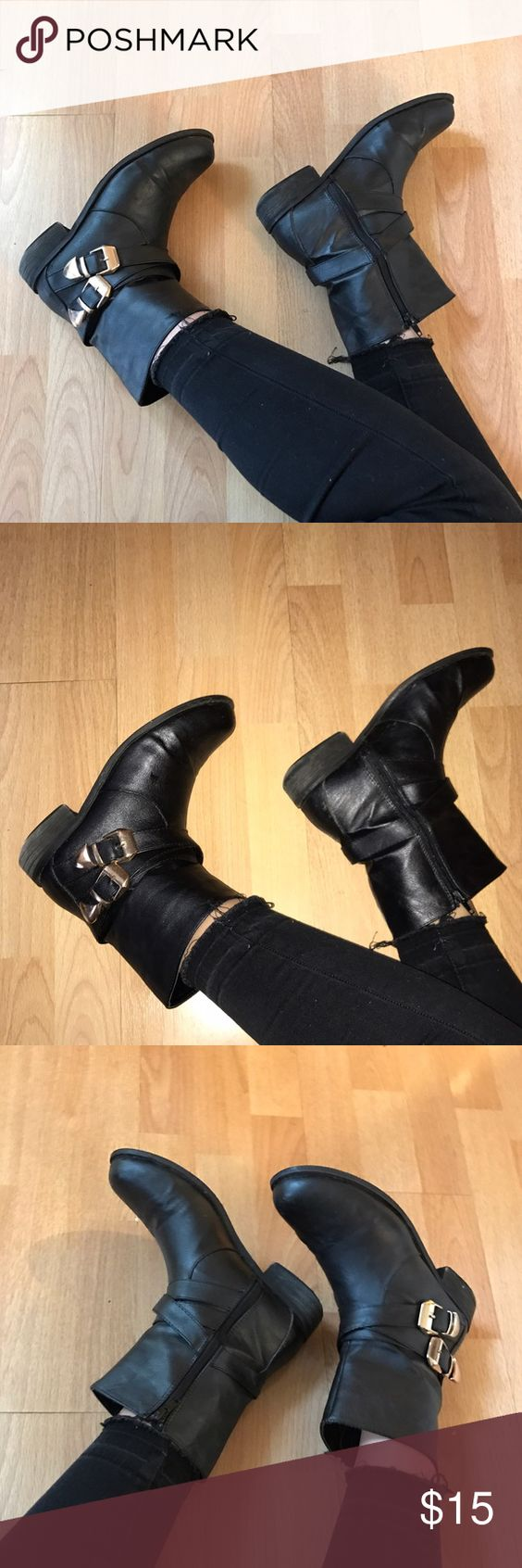 Black w/ Gold Buckle Booties Super trendy black booties with gold buckles! Tiny tears at the front of the boot and wear is shown at the heels. Other than that, these are in good condition :) Bucco Shoes Ankle Boots & Booties