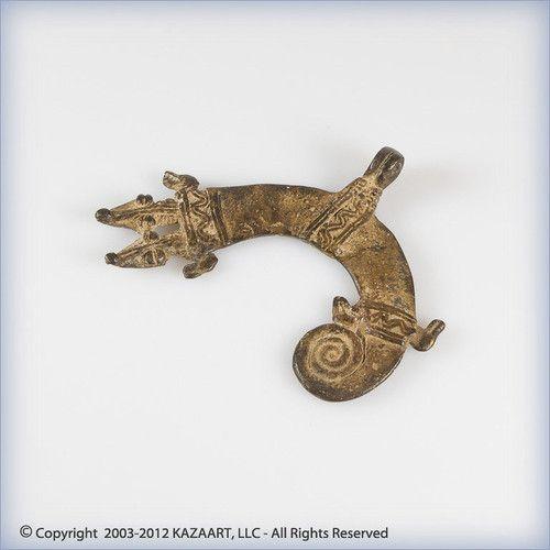 Gan African Bronze Pendant Amulet Chameleon Serpents | eBay
