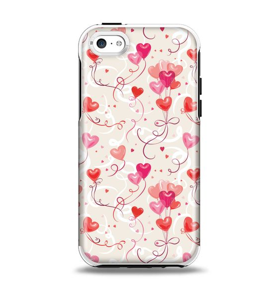 The Pink, Red and Tan Heart Balloon Pattern Apple iPhone 5c Otterbox Symmetry Case Skin Set