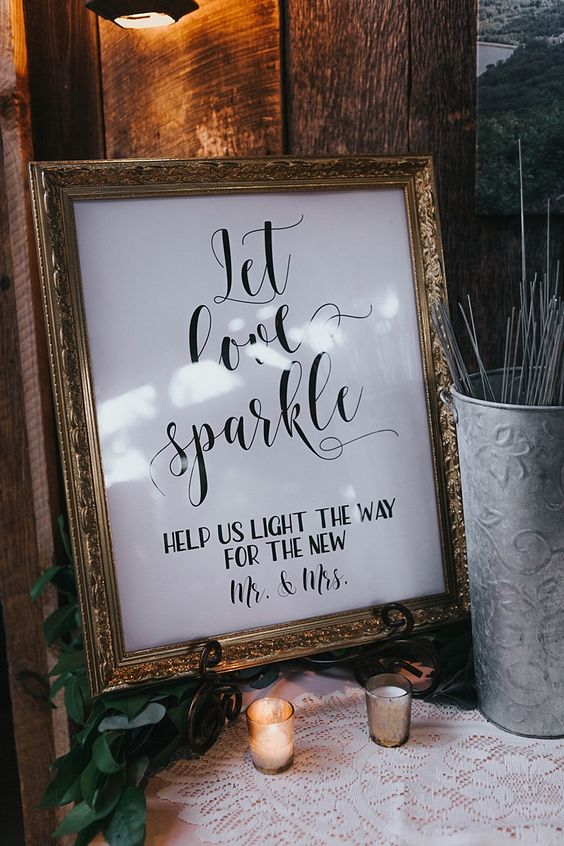 Reception Sparkler Bar Gold Framed Sign Metallic Vase Tealight Candles Bohemian & Whimsical Garden Wedding in North Carolina http://www.taylorparkerphotography.com/