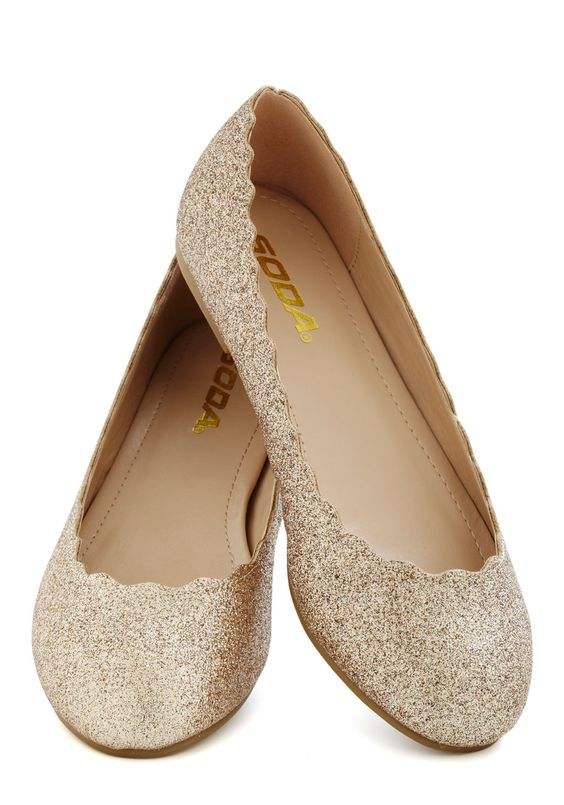 Unrivaled Radiance Flat. Each step in these sparkling gold flats makes a casually glam statement! #gold #modcloth