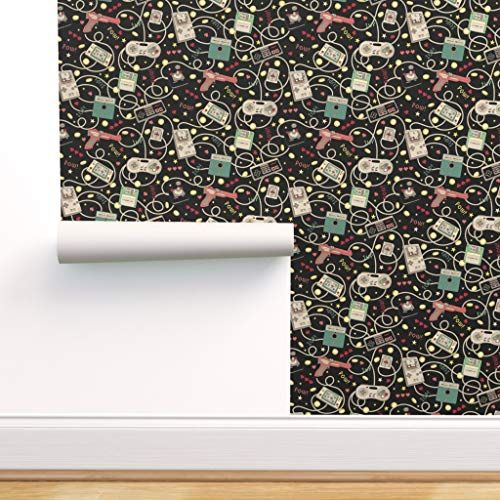 Spoonflower Peel And Stick Removable Wallpaper Video Game Retro Nerd Technology Geek Gaming Self Adhesive Wallpaper Spoonflower Wallpaper Removable Wallpaper