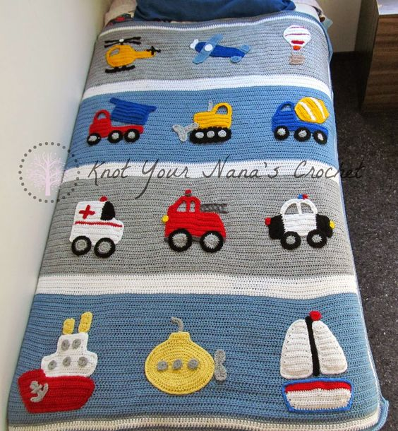Knot Your Nana's Crochet: Boys Will Be Boys - pattern is for the blanket only, then you add appliqués of your choice.: